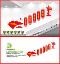 五个服务党建楼梯文化墙