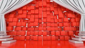 原创促销海报红色背景墙