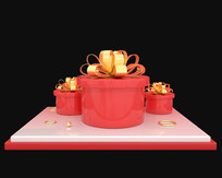 原创红色礼盒舞台
