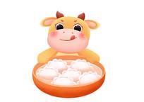 原创手绘动物卡通小牛抱着装满水饺的大碗