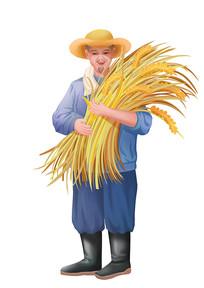 原创手绘人物秋收农民抱着成熟的麦子场景