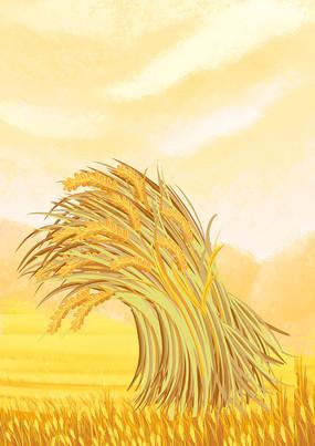 原创手绘写实秋季小麦成熟丰收场景插画