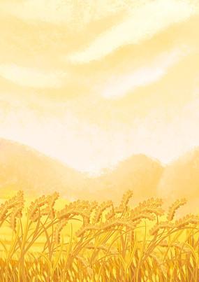 原創手繪寫實秋天小麥成熟豐收場景插畫