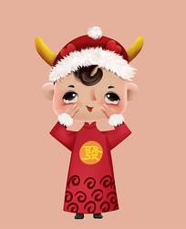 原创新年喜庆大红衣可爱调皮儿童