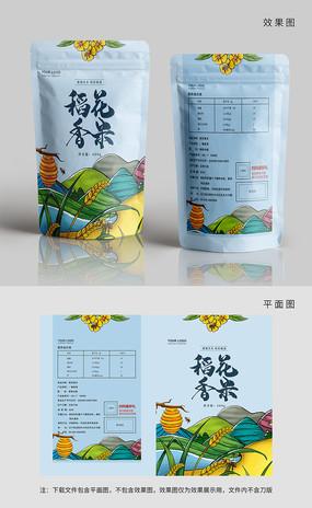 原創中國風風景稻花香米包裝
