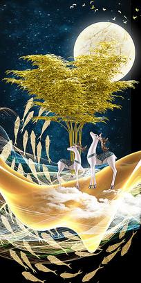 新中式现代轻奢九鱼图抽象线条风景晶瓷画