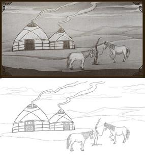 蒙古风情插图设计