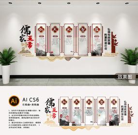 儒家五常仁义礼智信传统道德讲堂校园文化墙