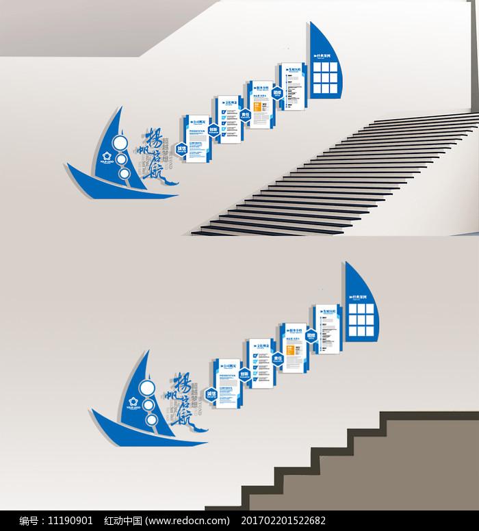 蓝色扬帆起航企业文化墙图片