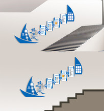 蓝色扬帆起航企业文化墙