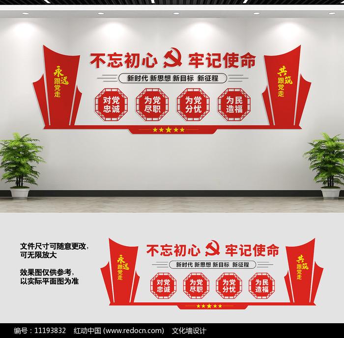 不忘初心党建文化墙标语图片