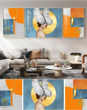 后现代轻奢爱马仕橙抽象唯美美女人物装饰画