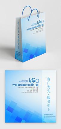 简约蓝色科技商务礼品盒企业手提袋设计