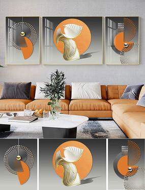 轻奢玄关壁画现代抽象三联客厅装饰画