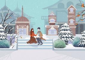 小清新飘雪的冬季街景情侣约会场景插画