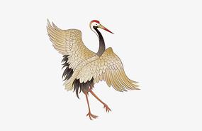 原创手绘动物中国风一只站立的仙鹤