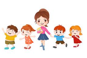 原创手绘人物卡通老师和一群小朋友插画