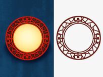 原创手绘中国风古典圆形窗户窗框插画