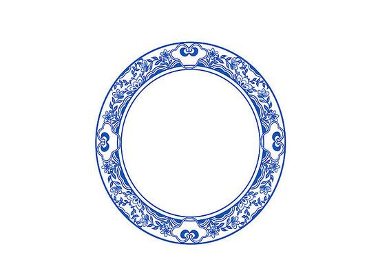 原创手绘中国风青花瓷圆形花纹图腾插画