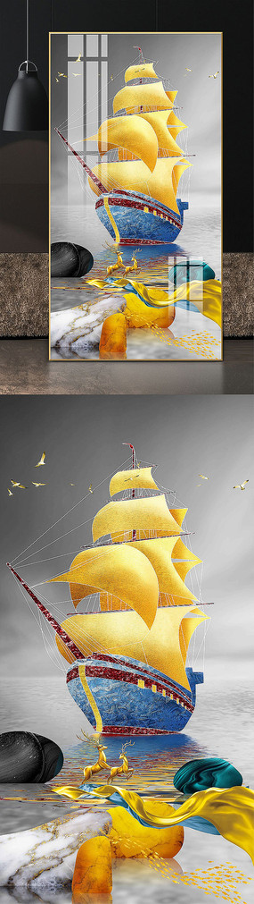 輕奢抽象福祿雙全一帆風順麋鹿玄關裝飾畫