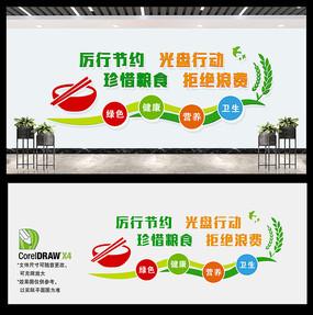 清新杜绝浪费企业学校食堂文化墙设计