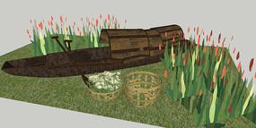 乌篷船景观小品SU模型