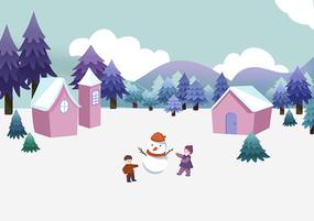 小清新冬季房屋前孩子们堆雪人场景插画