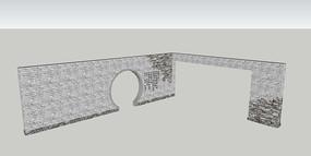 中式青砖拱门景墙SU模型