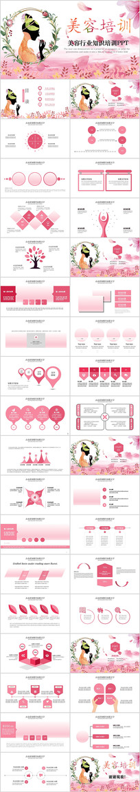 粉色美容培训PPT模板