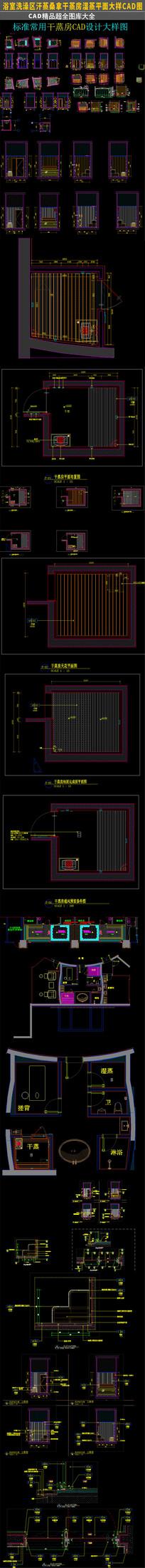 标准汗蒸桑拿干蒸房湿蒸CAD施工图