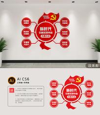 新时代文明实践站六传六习党建文化墙形象墙