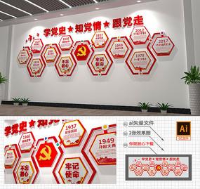 3D红色党的光辉历程雕刻布置文化墙