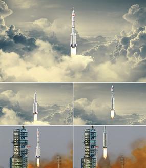 长征系列火箭发射升空三款视频素材