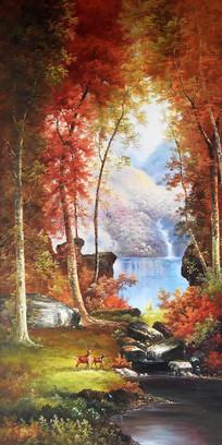 高清手绘公园麋鹿风景油画玄关