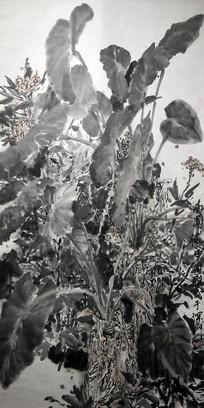 高清手绘水墨植物油画装饰画