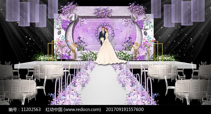 高端时尚紫色婚礼舞台签到背景图片