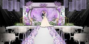 高端时尚紫色婚礼舞台签到背景