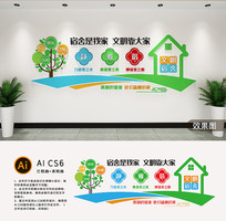 校园宿舍文化墙