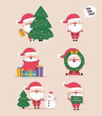 原创矢量手绘圣诞老人素材