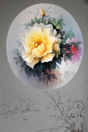 純手繪黃色玫瑰花油畫裝飾畫
