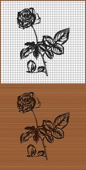 帶刺的玫瑰花矢量雕刻紋身花紋