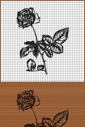 带刺的玫瑰花矢量雕刻纹身花纹