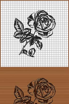带刺玫瑰花矢量雕刻纹身图案