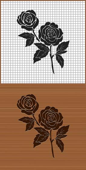 黑玫瑰花矢量雕刻圖案
