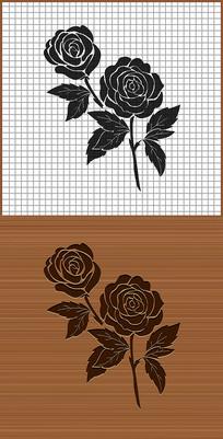 黑玫瑰花矢量雕刻图案