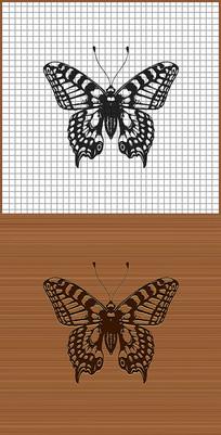 蝴蝶矢量花纹雕刻纹身图案