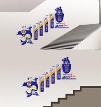 蓝色警营楼梯走廊文化墙