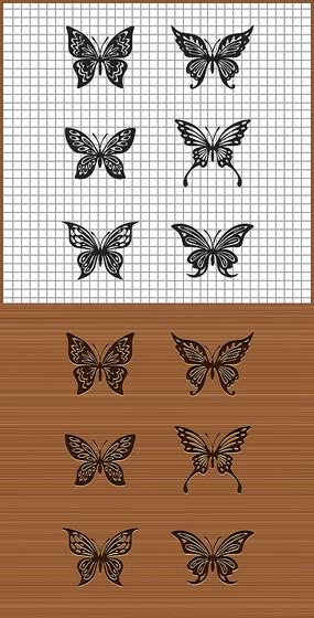 六款蝴蝶花紋矢量雕刻紋身圖案