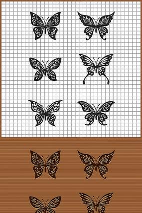 六款蝴蝶花纹矢量雕刻纹身图案