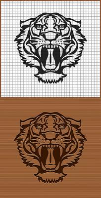 森林之王老虎虎头矢量雕刻纹身图案
